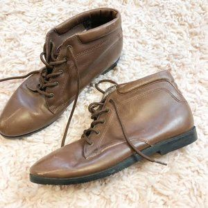 Vintage Dane XX Brown Ankle Tie-Up Boots